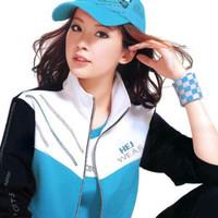 Spring and autumn sportswear female fashion slim set plus size clothing jogs women's color block decoration cardigan