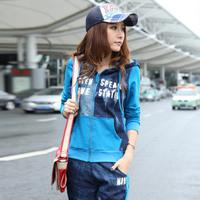 free shipping Autumn Women sweatshirt long-sleeve sportswear trousers casual sports set 100% cotton