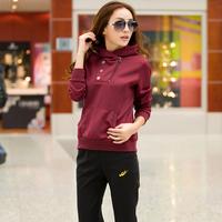 free shipping Woman cardigan 100% cotton with a hood slim sportswear set classic sportswear