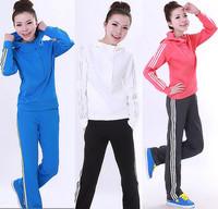 free shipping Women's spring south korean silk long-sleeve sportswear set casual women's sports set