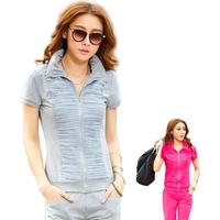 Summer new arrival sportswear female fashionable casual cardigan short-sleeve capris women's 100% cotton breathable sports set