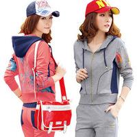 free shipping 2013 spring sports set sweatshirt cotton twinset women's fashion pattern sportswear set female