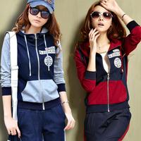 free shipping Spring women's fashion set sportswear cardigan color block long sleeve length pants women's sportswear