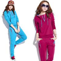 free shipping 2013 Women plus size cotton slim t-shirt pullover sweatshirt with a hood sportswear set female