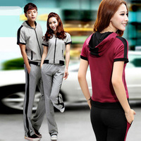 free shipping Summer fashion lovers short sleeve length pants sports set 100% cotton breathable sportswear casual wear