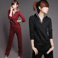 free shipping 2013 spring new arrival female slim casual sports set 100% cotton long sleeve length pants fitness clothing