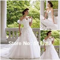 Noble Luxurious A Line Cheap Sweetheart Court Train Applique Lace Beading White Designer Wedding Dresses