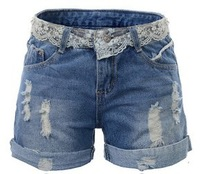 Free Shipping!2013 Korean version of the fertilizer to increase code lace the fat MM worn hole women's leisure shorts