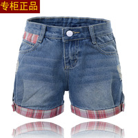 Free Shipping!Spring new Korean version of the retro plaid jeans with holes fashion shorts