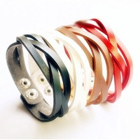 Hot Sale Min Mix Order $10, Vintage Fashion 4 colors Black/ White/ Red/ Brown Leather Bracelet jewelry for women