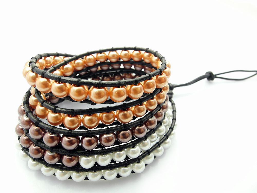 Hot Sale Fashion Wrap Bracelet, Immitation Freshwater Pearl Leather Wrap Bracelet 12pcs/Lot(China (Mainland))