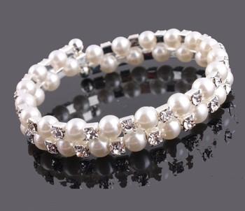 Pearl Crystal Braclets Rhinestone Bangle Bracelets Fashion Women Bracelets Freeshipping