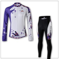 Free shipping Polyester+Coolmax+women Long Sleeve Cycling Jerseys+Pants Set/Cycling Wear/Cycling Clothing with Reflective strips