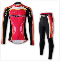 Free shipping 2013 MYSENLAN Coolmax women Long Sleeve Cycling Jerseys+Pants Cycling Wear/Cycling Clothing with Reflective strips
