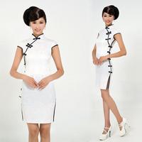 Summer short slim white cheongsam qipao cheongsam