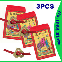 Brand New Feng Shui Coins Chinese Lucky Coin Wealth with Red Paper Envelope 3 PCS
