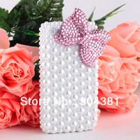 Handmade Full Pearl Bowknot Bling Diamond Hard Case For Apple iPhone 4 4S