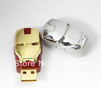 Wholesale 4GB 8GB 16GB LED Light Eyes IRON MAN USB Flash Pen Memory Drive Gold & Silver 30pcs/lot