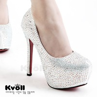 Wedding shoes kvoll ultra high heels platform shoes women's sexy princess rhinestone shallow mouth thin heels single shoes