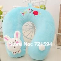 Free Shipping PP Cotton Doll Head Blue Rabbit Cartoon U Pillow Travel Work Internet Access At Home Sleeping Pillow