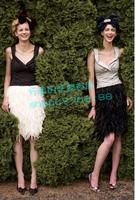Nobility vintage midi skirt medium skirt multi-layer natural feather