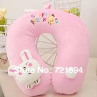 Free Shipping PP Cotton Doll Head Pink Rabbit Cartoon U Pillow Travel Work Internet Access At Home Sleeping Pillow