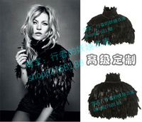 Kate moss topshop royal feather cloak green black fur shawl