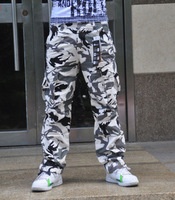 2013 spring and summer male thin snow white Camouflage pants bags hip-hop overalls Camouflage pants