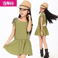 Girls dress clothing female child  one-piece  chiffon lace metal high quality accessories princess dress  y1410