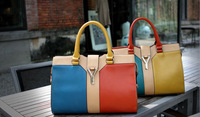 2013 Summer classic luxurious charming lady favor high quality leather casual shoulder bag contrast color messenger bag B445
