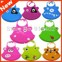 Cartoon Silicone Bibs Silicone Waterproof  Baby Bibs Infant Feeding Bibs Baby Rice Pocket  Bibs Free Shipping 2pcs  WZ20b