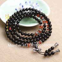 Natural crystal natural black agate bracelet 108 pellet