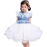 Promotion Free Shipping Children's dress clothing female short-sleeve  patchwork denim  high quality dress  y2026