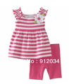 In stock! Zaraa girls summer sets stripe top + red pants baby kids clothing set girls fashion outfit 1 set in retail