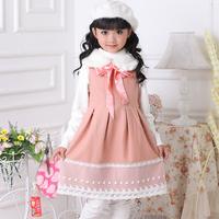 Children's dress clothing female child  princess dress one-piece woolen dress tank  high quality  y 2031