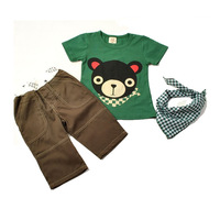 Free shipping Children's clothing baby child set child summer male child t-shirt capris bib set piece