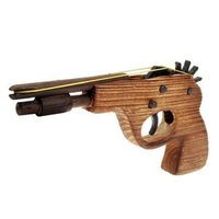 Classical Rubber Band Launcher Wooden Pistol Gun Toy