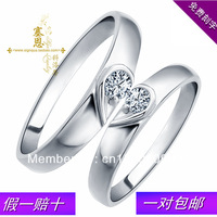 925 pure silver heart lovers Rhinestones pinky ring lettering ring one pair