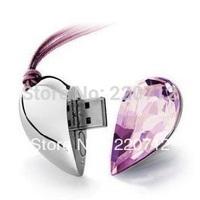 Best selling 8GB crystal pen drive 16GB jewelry heart USB Flash Drive 32GB Memory Stick Thumb Drive 64GB Gift Free Shipping