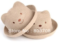 Wholesale kids bear linen fedora hat,baby jazz cap,children summer character hats,boys and girls casual hat
