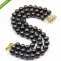 3 Rows 7-8mm Black Akoya Pearls bracelet 7.5''