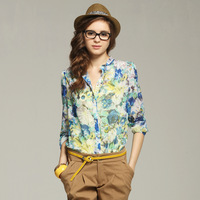 Linapelicci floral print shirt formal vintage print loose chiffon shirt stand collar fancy long-sleeve female