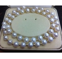 9-10mm genuine south sea white pearl necklace 35inch 14K