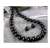 natural AAA round 9-10mm tahitian black pearl necklace 18'' earrings