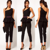 British style the waist beads flower one shoulder jumpsuit black jumpsuit
