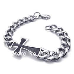 Free Shipping Hot-selling stainless steel cross Carbon fiber bracelet(China (Mainland))