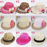 Girls Floral Fedora Hat Children Flower Sun Cap Baby Straw Top Hat Dicers Sunbonnet Fedoras 10pcs FH008