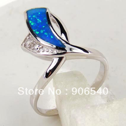925 Silver Blue Opal Ring With Tanzanite Color CZ DRRD1042R-a Free Shipping(China (Mainland))