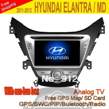 "Car DVD with can-bus box 8"" Car DVD for HYUNDAI ELANTRA MD 2011-12 with GPS Analog TV Radio RDS Bluetooth USB iPod"