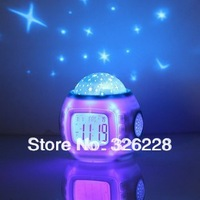 Free Shipping!Music Starry Star Sky Night Projection digital Alarm Clock and Sound Shooter+Calendar Thermometer ,Large LCD clock